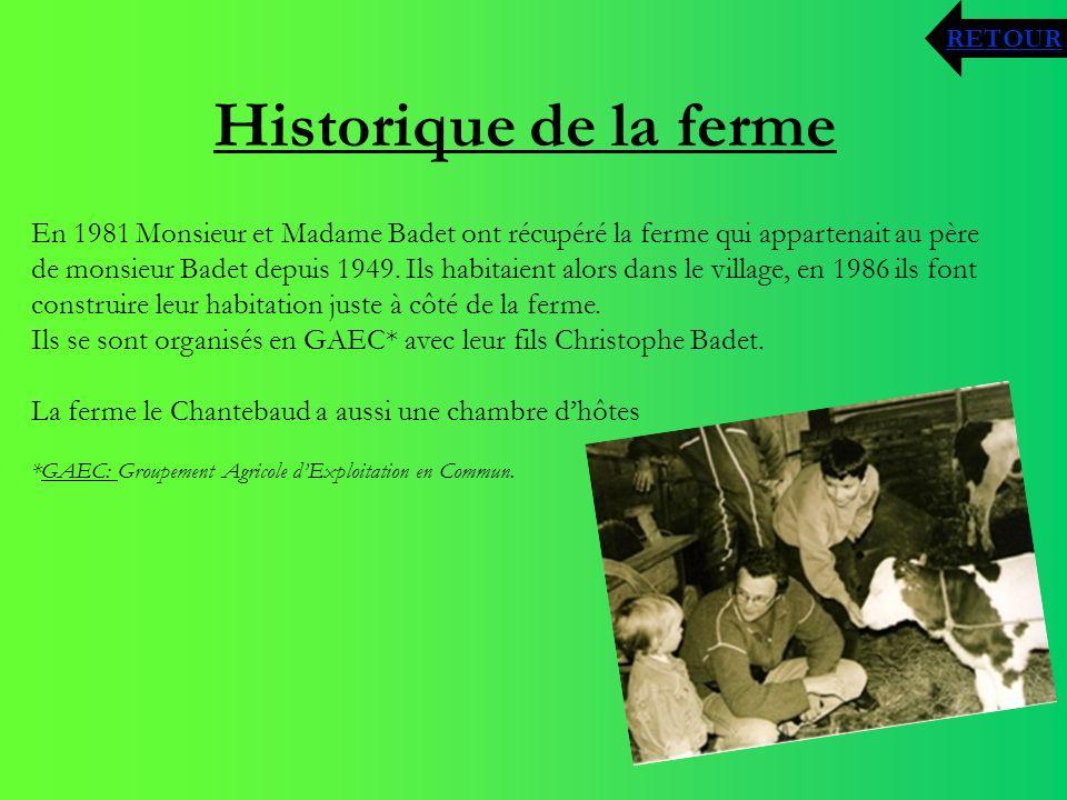 Historique de la ferme En 1981 Monsieur et Madame Badet ont récupéré la ferme qui appartenait au père de monsieur Badet depuis 1949. Ils habitaient al