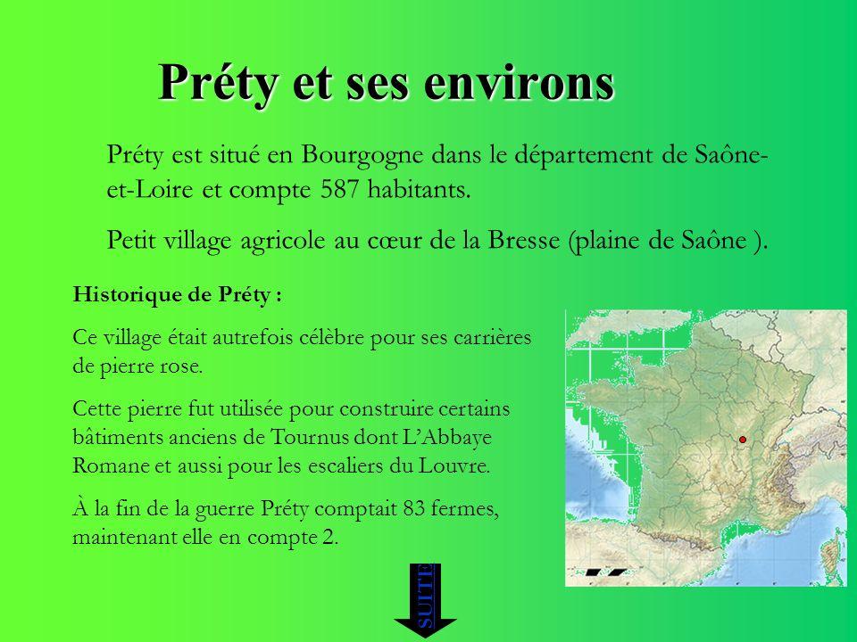 Préty et ses environs Préty est situé en Bourgogne dans le département de Saône- et-Loire et compte 587 habitants. Petit village agricole au cœur de l
