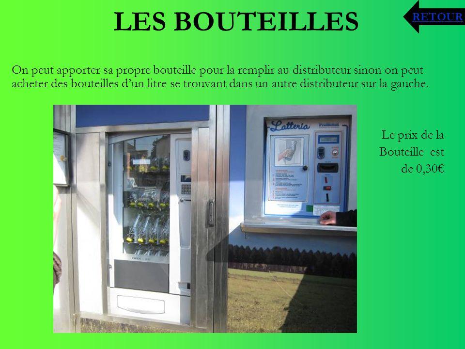 LES BOUTEILLES On peut apporter sa propre bouteille pour la remplir au distributeur sinon on peut acheter des bouteilles dun litre se trouvant dans un