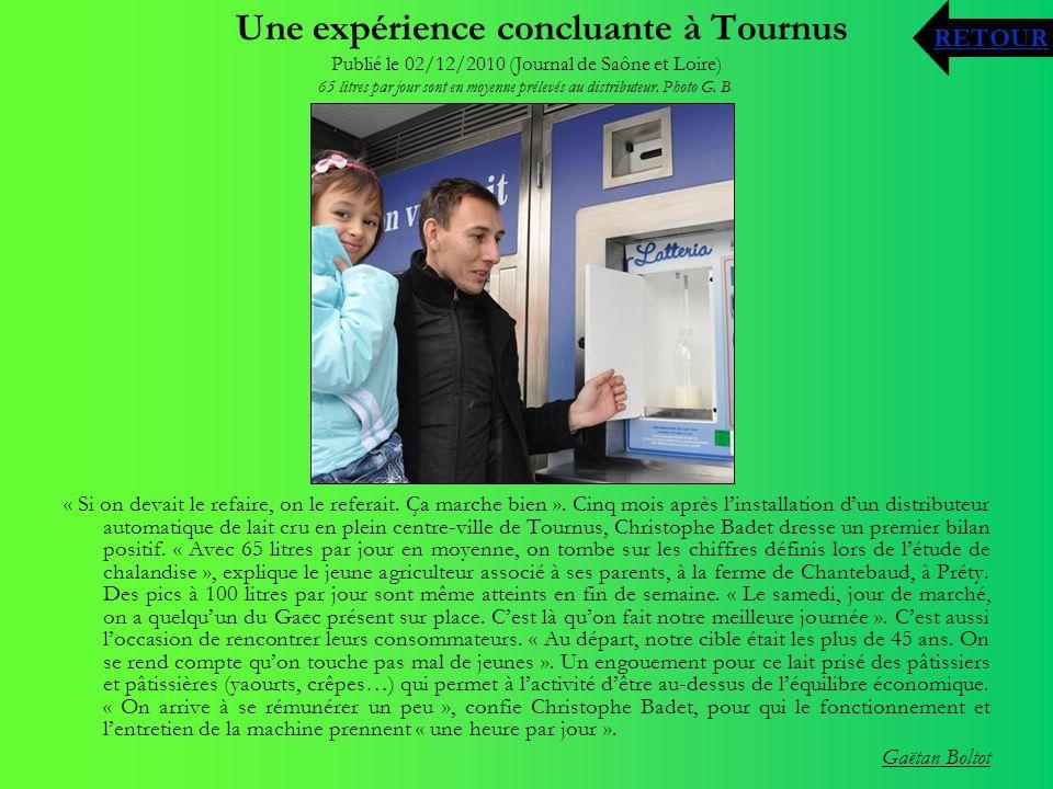 Une expérience concluante à Tournus Publié le 02/12/2010 (Journal de Saône et Loire) 65 litres par jour sont en moyenne prélevés au distributeur. Phot