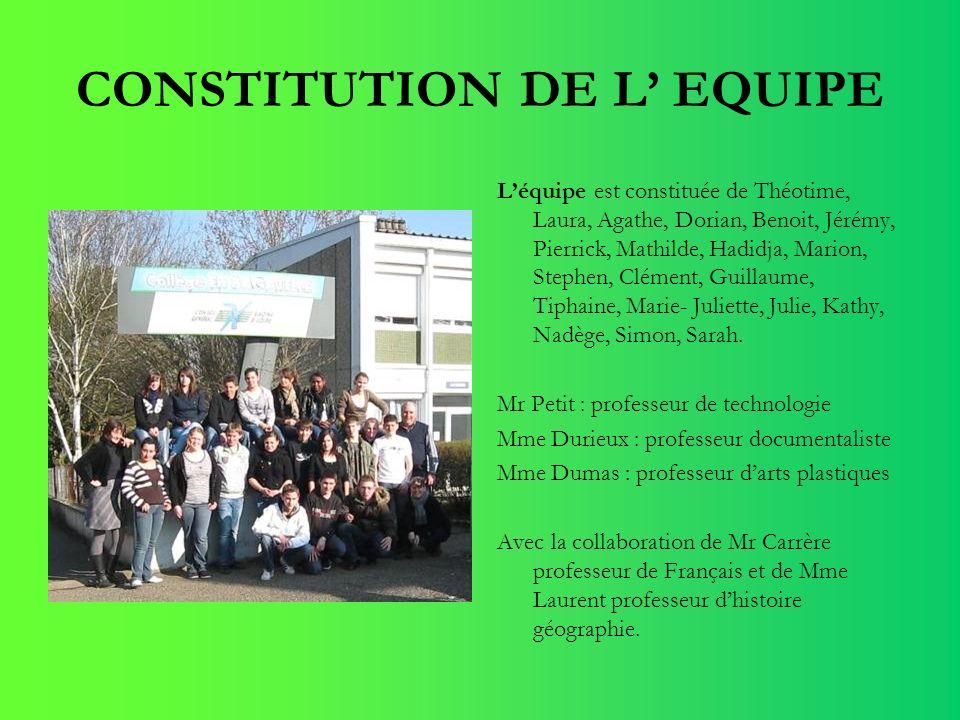 CONSTITUTION DE L EQUIPE Léquipe est constituée de Théotime, Laura, Agathe, Dorian, Benoit, Jérémy, Pierrick, Mathilde, Hadidja, Marion, Stephen, Clém