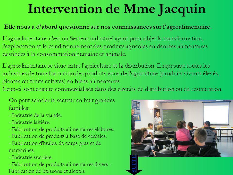 Intervention de Mme Jacquin Elle nous a dabord questionné sur nos connaissances sur lagroalimentaire. Lagroalimentaire: cest un Secteur industriel aya