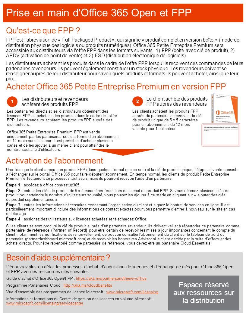 Acheter Office 365 Petite Entreprise Premium en version FPP Activation de l'abonnement Une fois que le client a reçu son produit FPP (dans quelque for