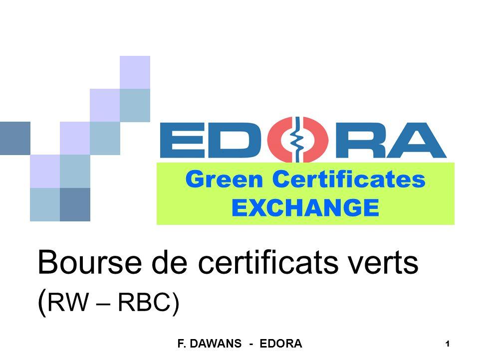 1 Bourse de certificats verts ( RW – RBC) Green Certificates EXCHANGE F. DAWANS - EDORA