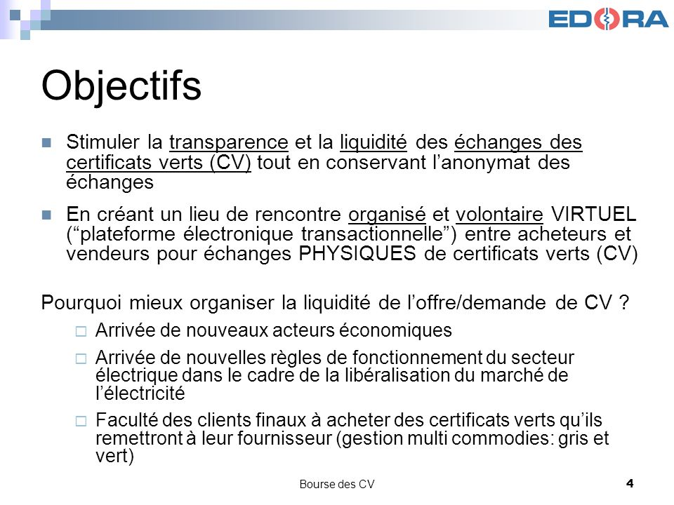 Bourse des CV4 Objectifs Stimuler la transparence et la liquidité des échanges des certificats verts (CV) tout en conservant lanonymat des échanges En