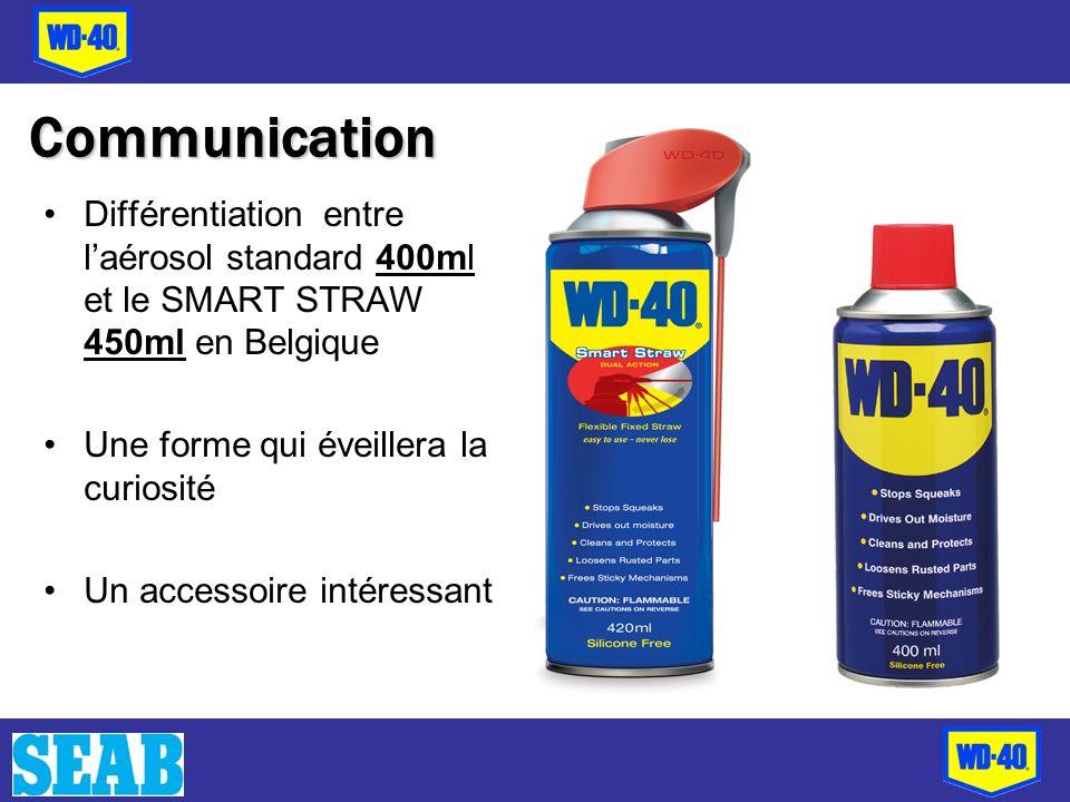 Différentiation entre laérosol standard 400ml et le SMART STRAW 450ml en Belgique Une forme qui éveillera la curiosité Un accessoire intéressant Commu
