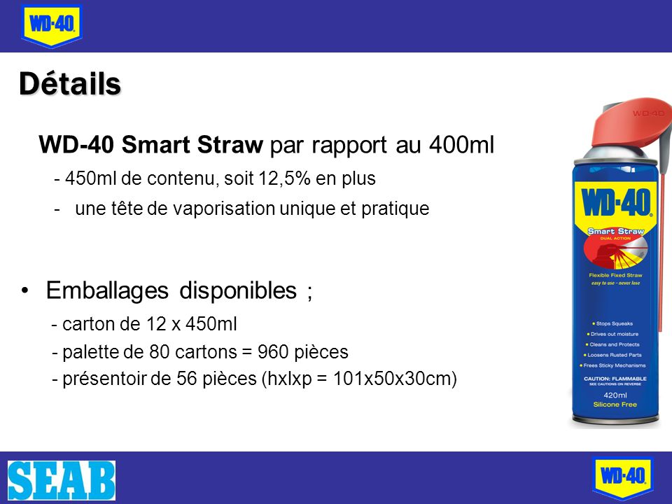 Détails WD-40 Smart Straw par rapport au 400ml - 450ml de contenu, soit 12,5% en plus -une tête de vaporisation unique et pratique Emballages disponib