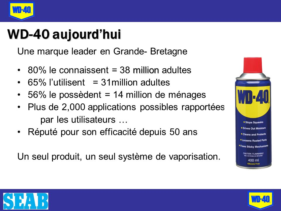 Une marque leader en Grande- Bretagne million80% le connaissent = 38 million adultes 65% lutilisent = 31million adultes 56% le possèdent = 14 million