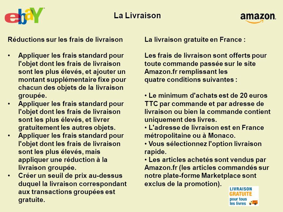 La livraison gratuite en France : Les frais de livraison sont offerts pour toute commande passée sur le site Amazon.fr remplissant les quatre conditio