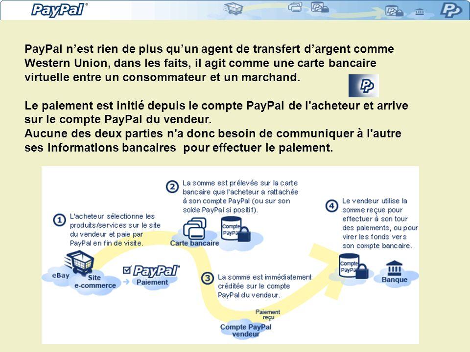 PayPal nest rien de plus quun agent de transfert dargent comme Western Union, dans les faits, il agit comme une carte bancaire virtuelle entre un consommateur et un marchand.