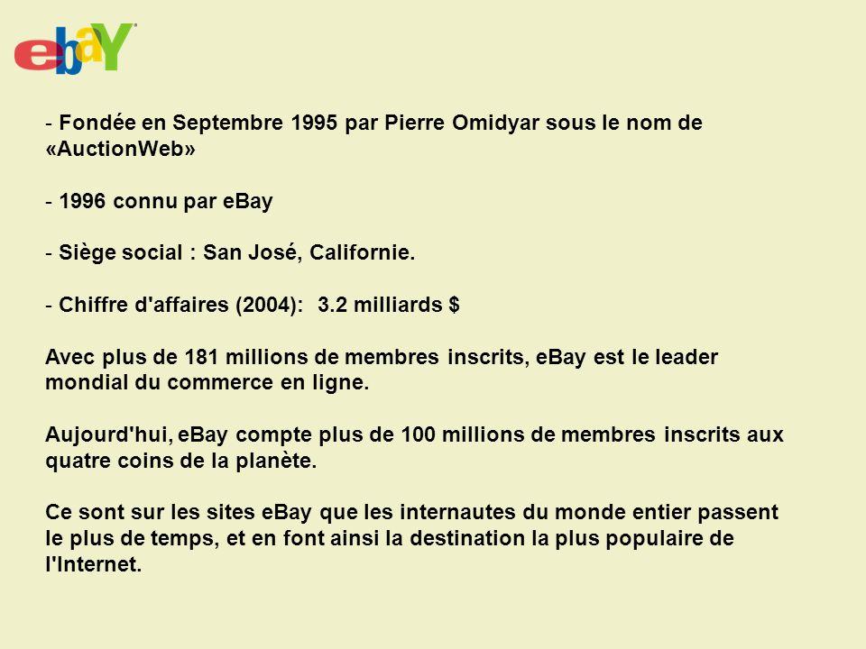 - Fondée en Septembre 1995 par Pierre Omidyar sous le nom de «AuctionWeb» - 1996 connu par eBay - Siège social : San José, Californie.