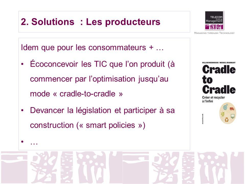 2. Solutions : Les producteurs Idem que pour les consommateurs + … Écoconcevoir les TIC que lon produit (à commencer par loptimisation jusquau mode «