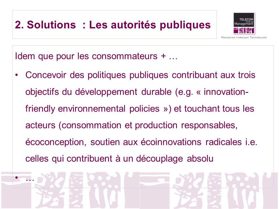 2. Solutions : Les autorités publiques Idem que pour les consommateurs + … Concevoir des politiques publiques contribuant aux trois objectifs du dével