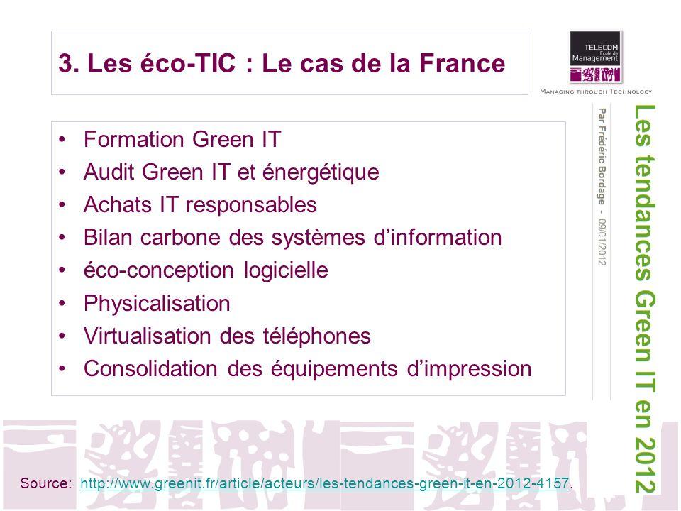 3. Les éco-TIC : Le cas de la France Formation Green IT Audit Green IT et énergétique Achats IT responsables Bilan carbone des systèmes dinformation é