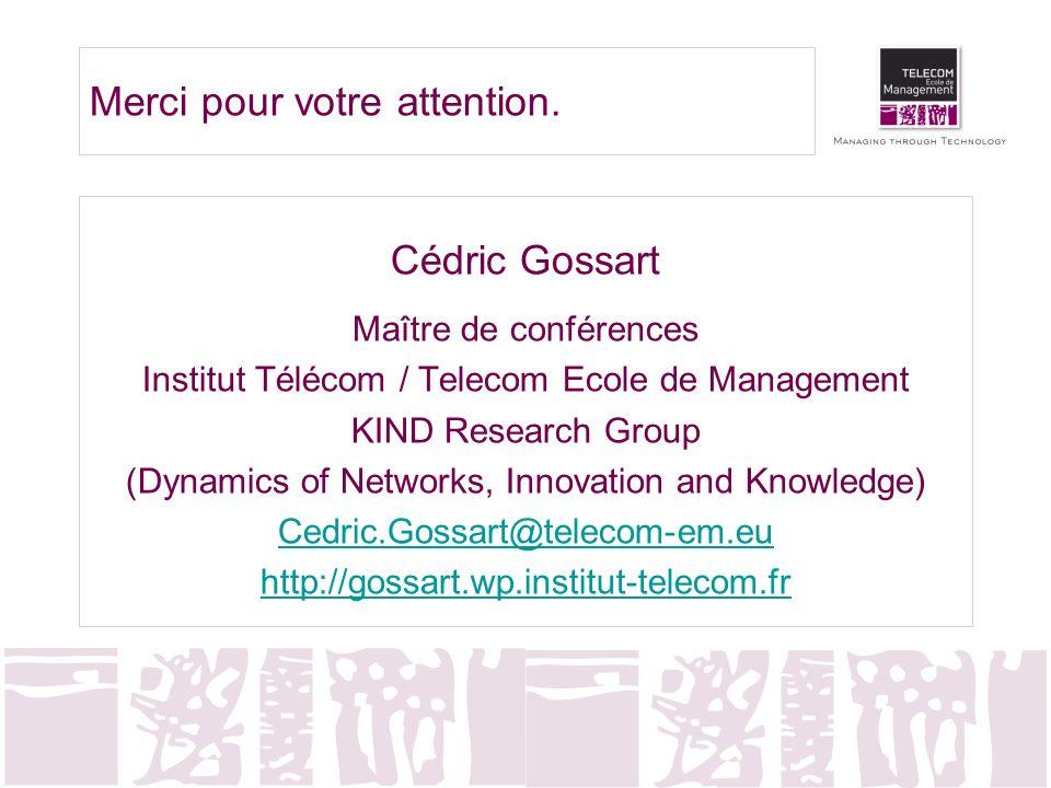 Merci pour votre attention. Cédric Gossart Maître de conférences Institut Télécom / Telecom Ecole de Management KIND Research Group (Dynamics of Netwo