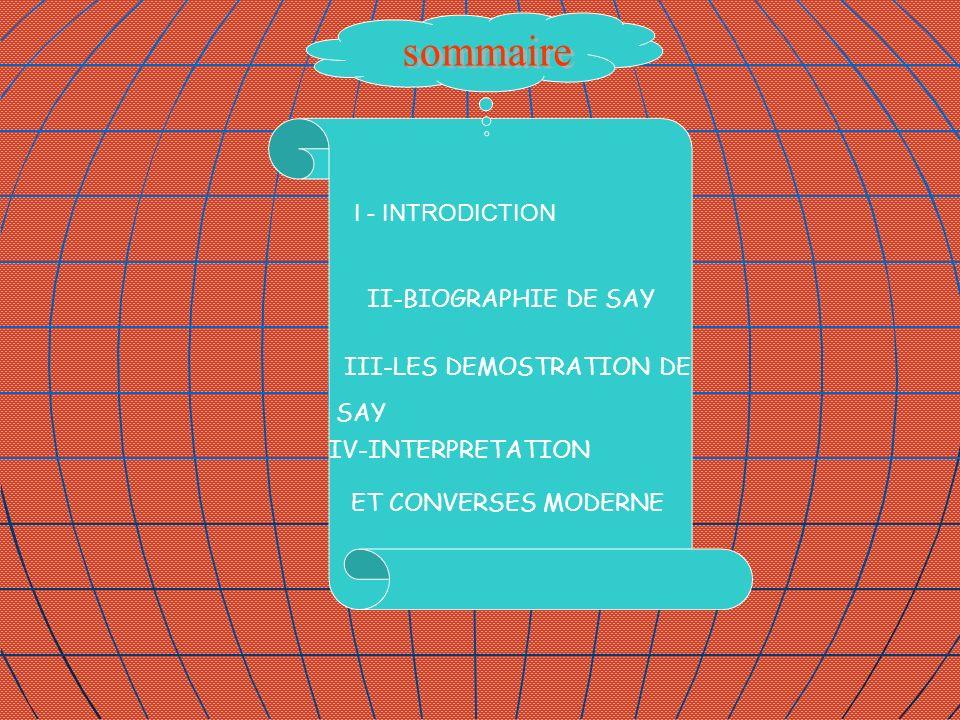 I - INTRODICTION II-BIOGRAPHIE DE SAY III-LES DEMOSTRATION DE SAY IV-INTERPRETATION ET CONVERSES MODERNE