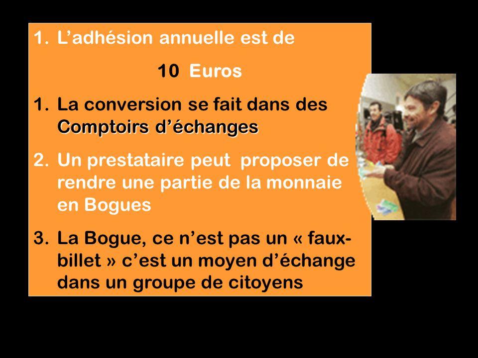 Le prestataire signe une convention avec lassociation par laquelle il sengage dans un processus éthique reconvertir Seul le prestataire peut « reconvertir » ses Bogues en Euros (avec une commission de 2 %)