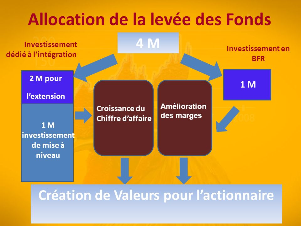 Allocation de la levée des Fonds 4 M Croissance du Chiffre daffaire Amélioration des marges 2 M pour lextension 1 M Investissement dédié à lintégration Investissement en BFR 1 M investissement de mise à niveau Création de Valeurs pour lactionnaire