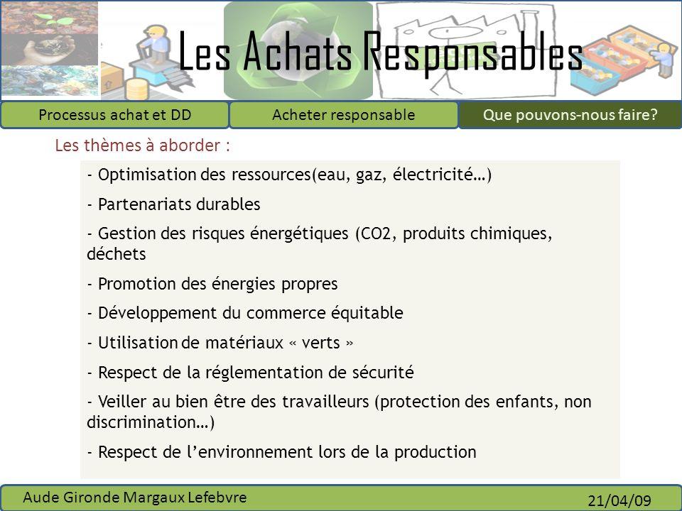 Les Achats Responsables Processus achat et DDAcheter responsableQue pouvons-nous faire? Aude Gironde Margaux Lefebvre 21/04/09 - Optimisation des ress