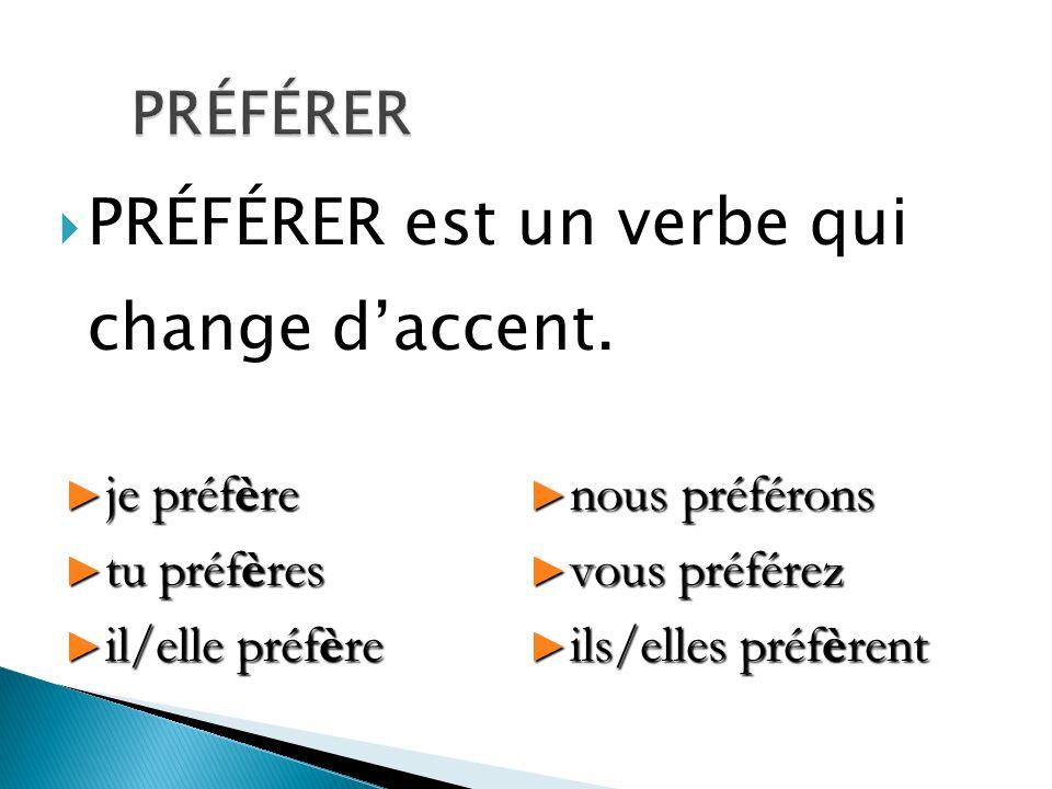 PRÉFÉRER est un verbe qui change daccent. je préfère je préfère tu préfères tu préfères il/elle préfère il/elle préfère nous préférons nous préférons