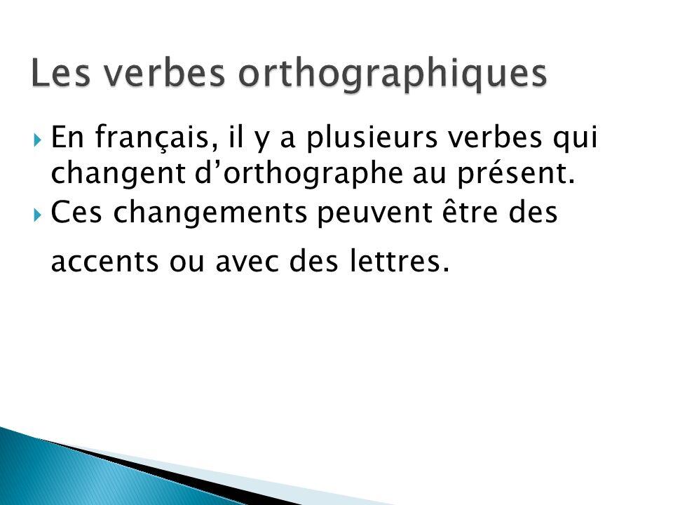 En français, il y a plusieurs verbes qui changent dorthographe au présent. Ces changements peuvent être des accents ou avec des lettres.