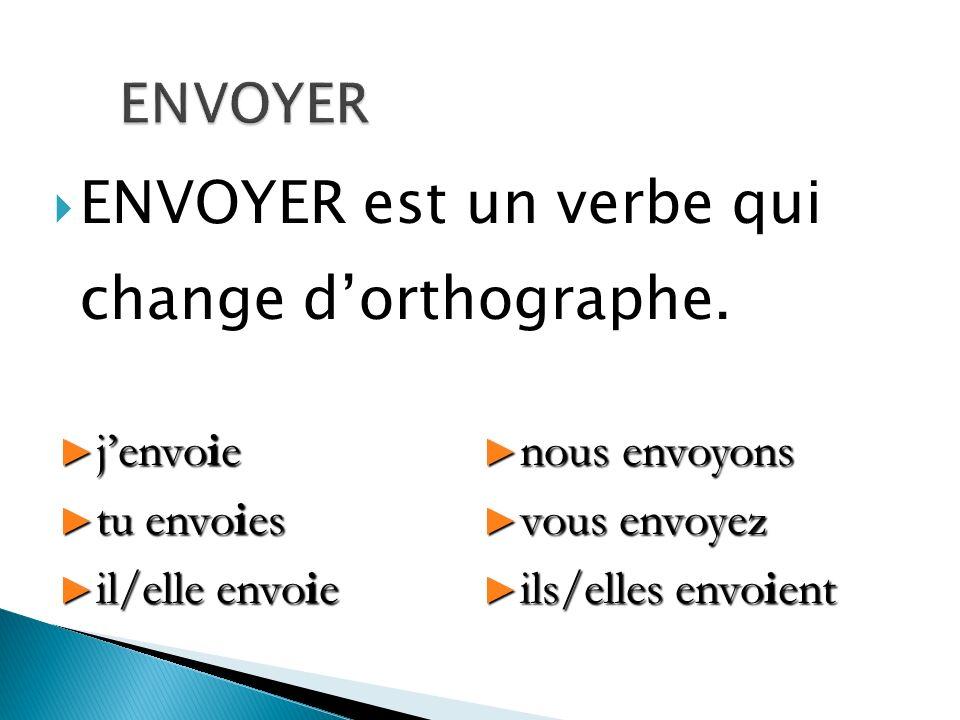 ENVOYER est un verbe qui change dorthographe. jenvoie jenvoie tu envoies tu envoies il/elle envoie il/elle envoie nous envoyons nous envoyons vous env