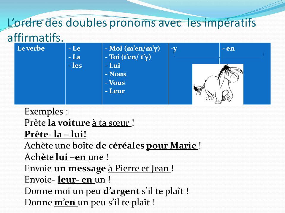 Lordre des doubles pronoms avec les impératifs affirmatifs. Le verbe- Le - La - les - Moi (men/my) - Toi (ten/ ty) - Lui - Nous - Vous - Leur -y- en E
