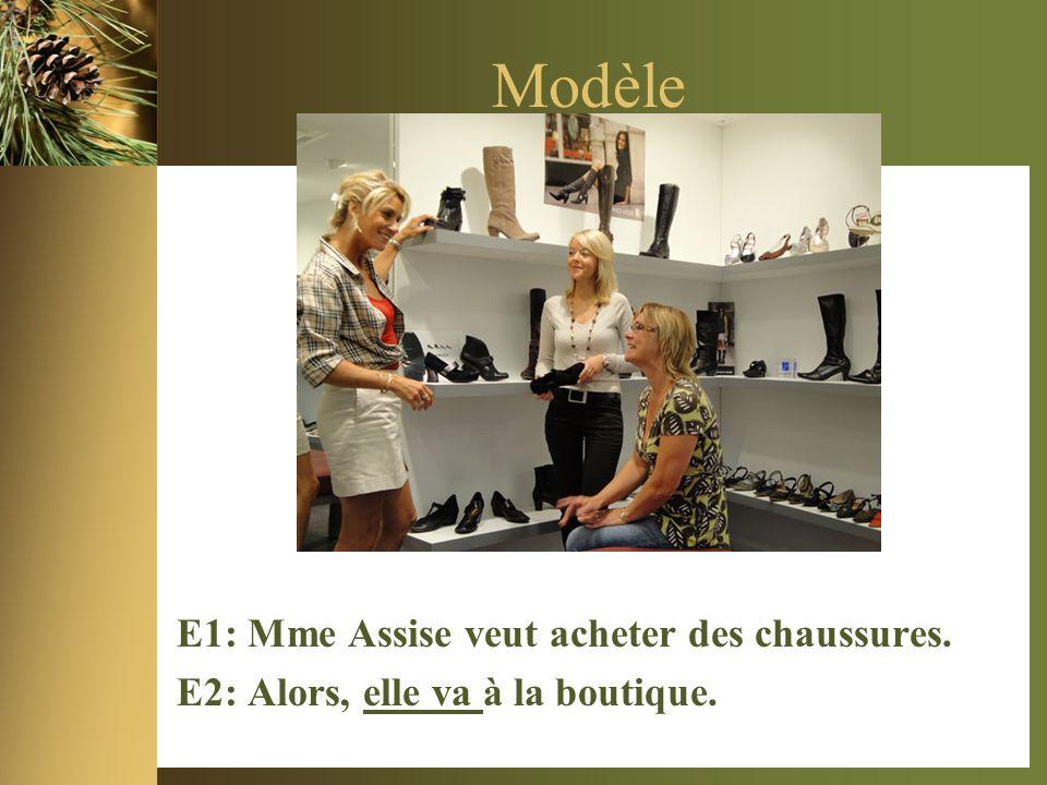 Modèle E1: Mme Assise veut acheter des chaussures. E2: Alors, elle va à la boutique.