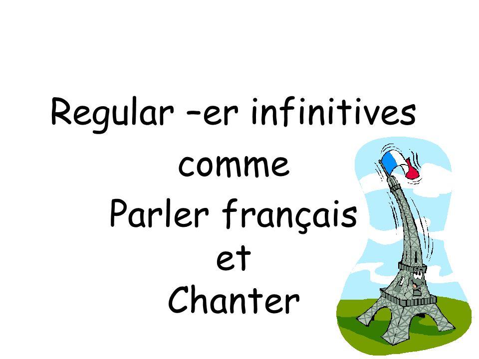 Regular –er infinitives comme Parler français et Chanter