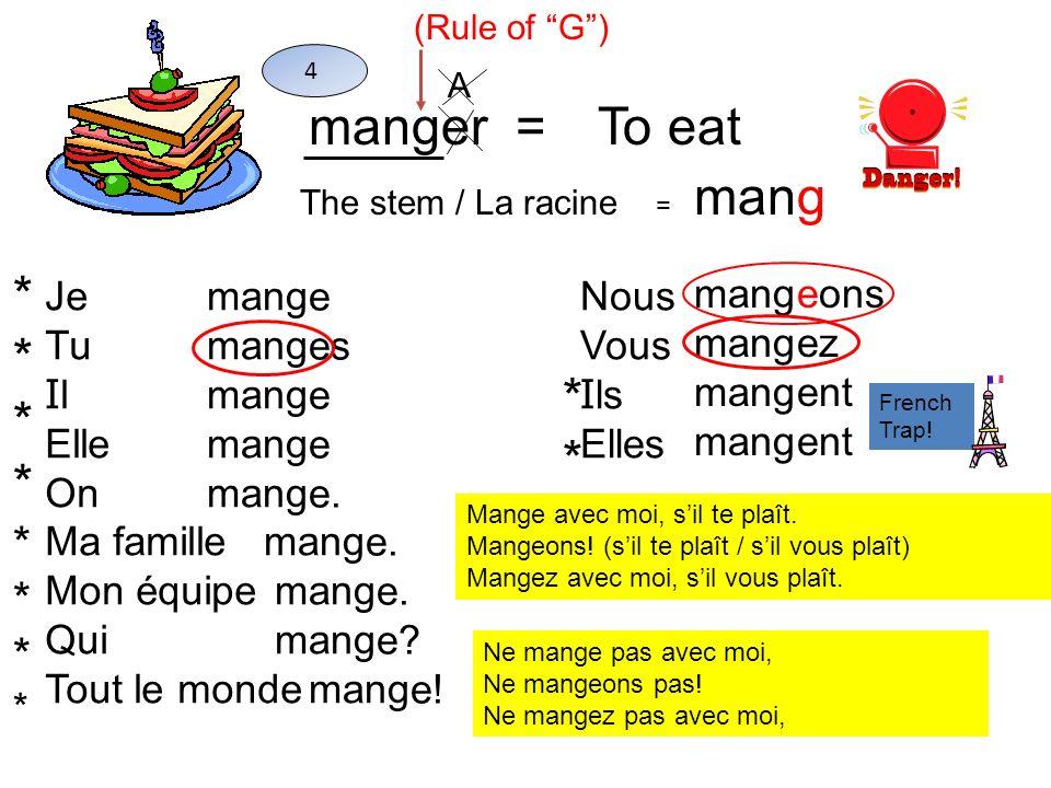 manger =To eat The stem / La racine = mang 4 Je Tu I l Elle On Ma famille Mon équipe Qui Tout le monde mang e es e e. e? e! Nous Vous I ls Elles mang