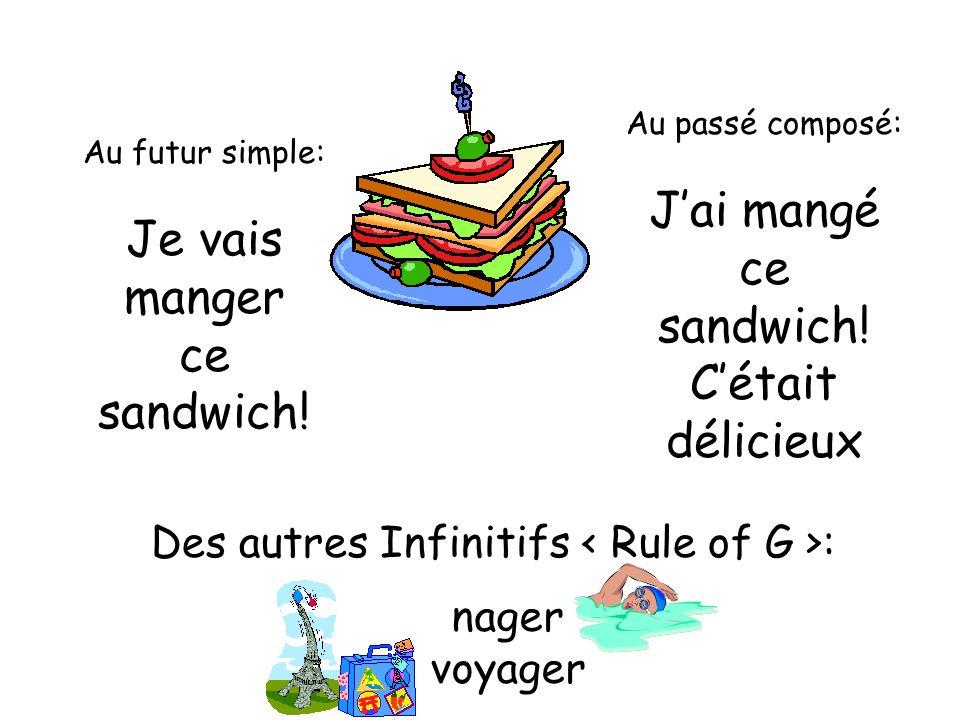 Au futur simple: Je vais manger ce sandwich! Au passé composé: Jai mangé ce sandwich! Cétait délicieux Des autres Infinitifs : nager voyager