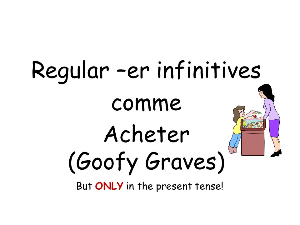 Regular –er infinitives comme Acheter (Goofy Graves) But ONLY in the present tense!