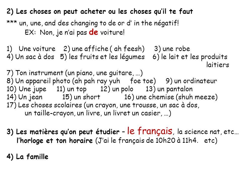 5) Où on peut habiter 1) avec ma famille 2) chez moi 3) dans une maison 4) dans un appartement 5) dans un immeuble (uhn nuh muh bluh) 6) à (Marietta, Paris, etc…) 7) en France, aux États-Unis 6) Les nationalités (masculin, féminin, pluriel) 1) américain, américaine, américains, américaines 2) français, française, français, françaises 3) canadien, canadienne, canadiens, canadiennes 4) belge, belge, belges, belges 5) italien, italienne, italiens, italiennes 6) anglais, anglaise, anglais, anglaises 7) africain, africaine, africains, africaines 8) allemand, allemande, allemands, allemandes 9) espagnol, espagnole, espangols, espagnoles 10) mexicain, mexicaine, mexicains, mexicaines