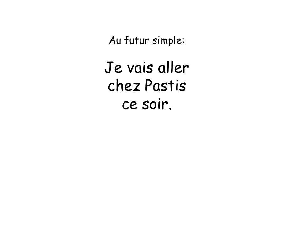 Au futur simple: Je vais aller chez Pastis ce soir.