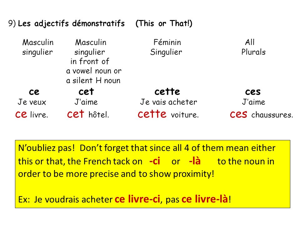 Regular –er infinitives comme Acheter (Goofy Graves) But ONLY in the present tense!