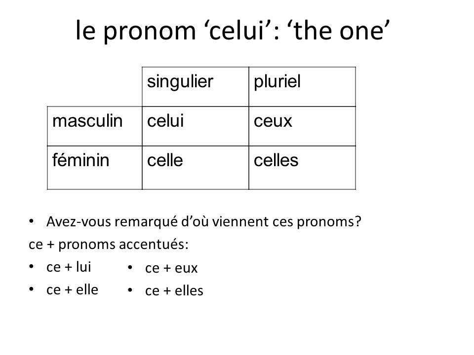le pronom celui: the one Avez-vous remarqué doù viennent ces pronoms? ce + pronoms accentués: ce + lui ce + elle ce + eux ce + elles masculin féminin