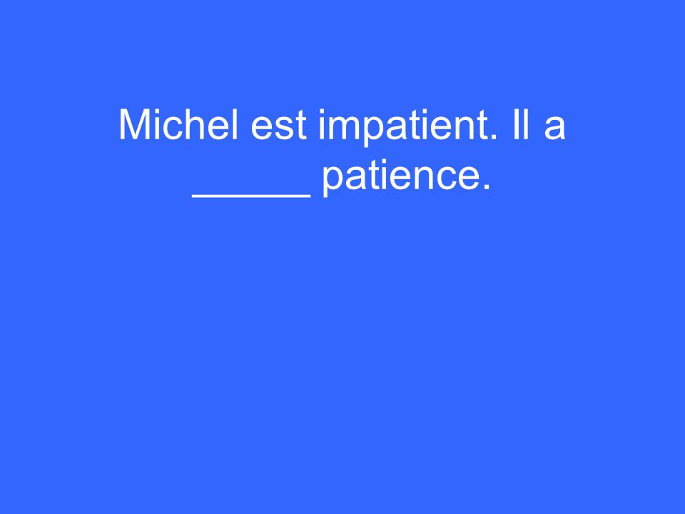 Michel est impatient. Il a _____ patience.