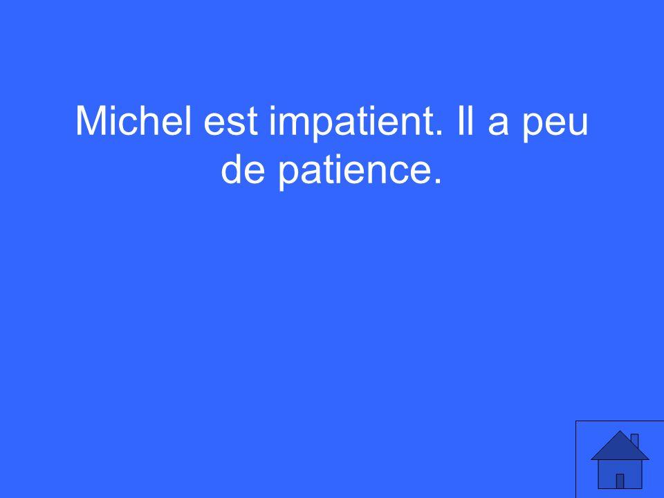 Michel est impatient. Il a peu de patience.