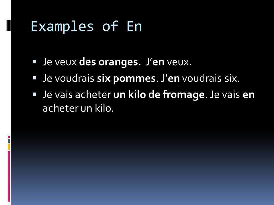 Examples of En Je veux des oranges. Jen veux. Je voudrais six pommes.