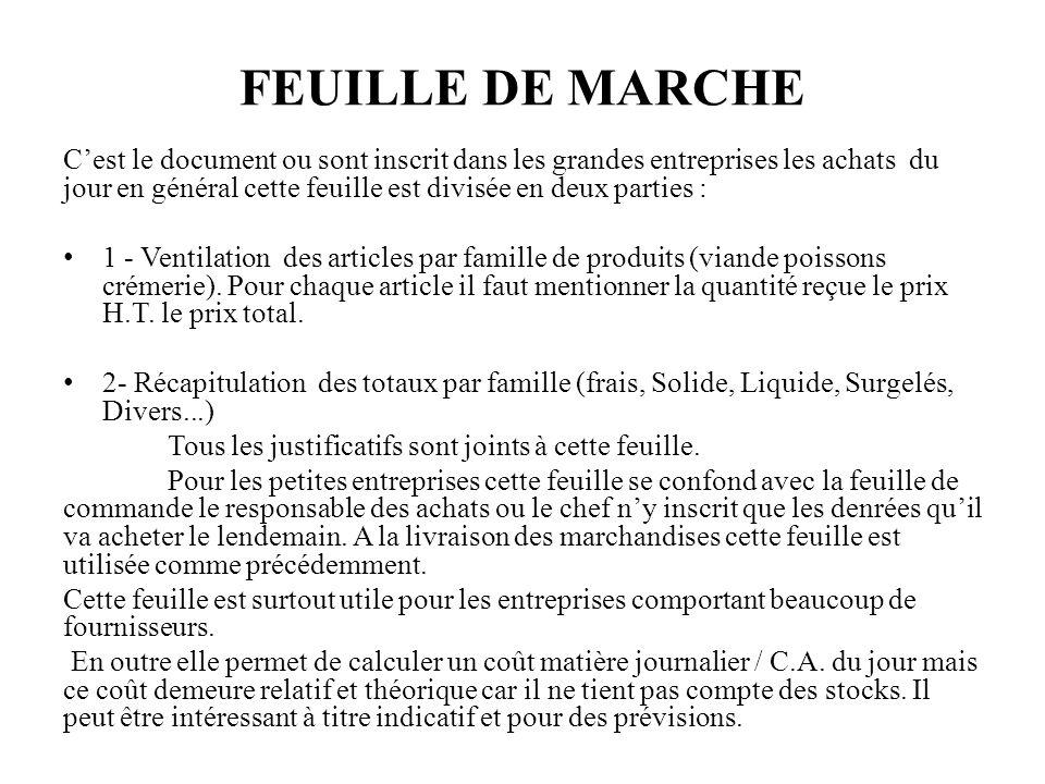 FEUILLE DE MARCHE Cest le document ou sont inscrit dans les grandes entreprises les achats du jour en général cette feuille est divisée en deux parties : 1 - Ventilation des articles par famille de produits (viande poissons crémerie).