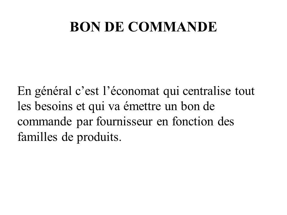 LE BON DE COMMANDE EST EFFECTUÉ EN TROIS EXEMPLAIRES FOURNISSEUR MAGASIN COMPTABILITE