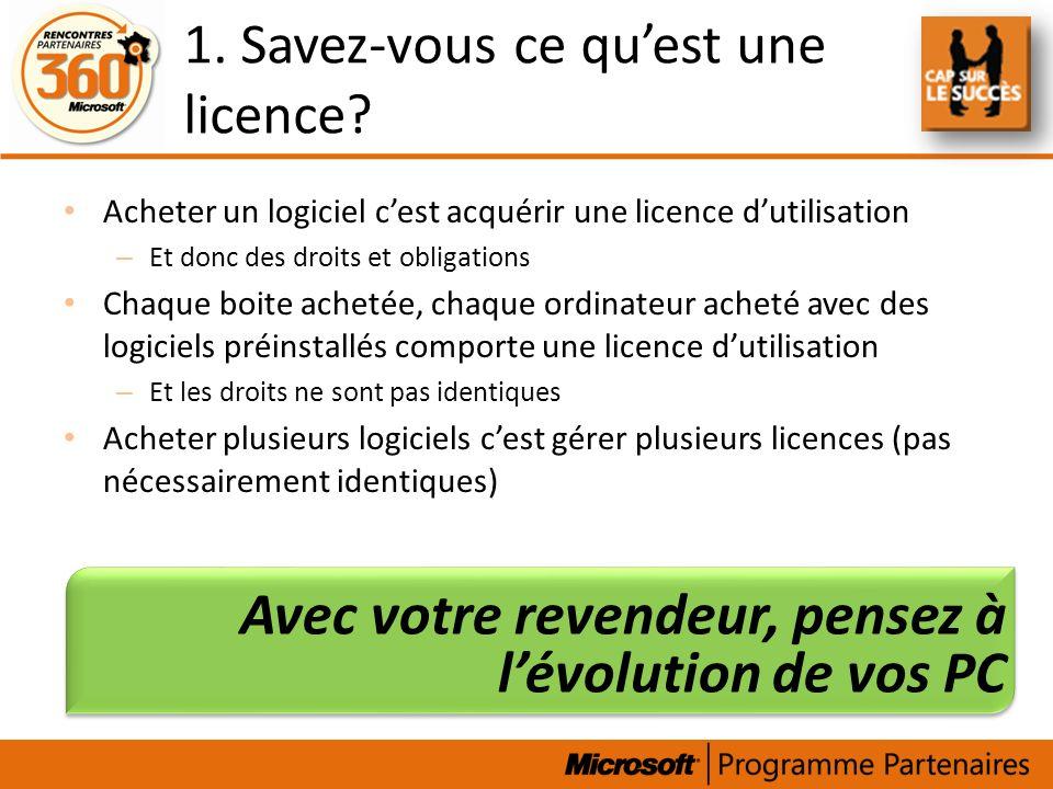 1. Savez-vous ce quest une licence? Acheter un logiciel cest acquérir une licence dutilisation – Et donc des droits et obligations Chaque boite acheté