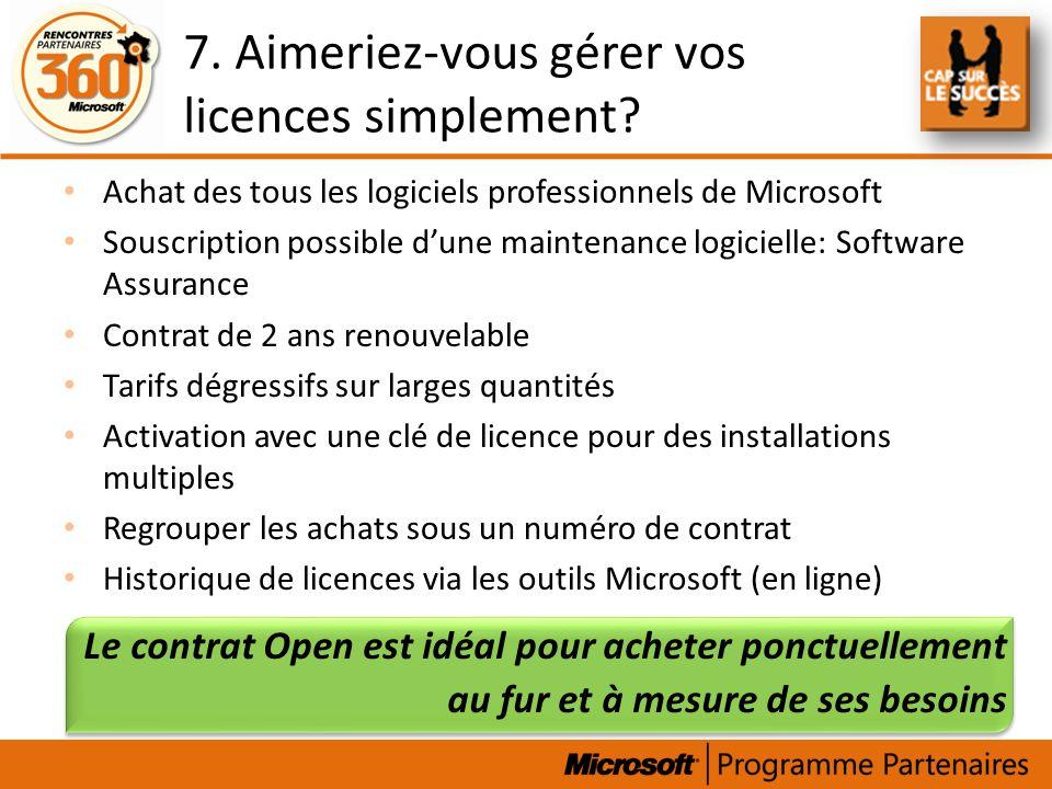 7. Aimeriez-vous gérer vos licences simplement? Achat des tous les logiciels professionnels de Microsoft Souscription possible dune maintenance logici
