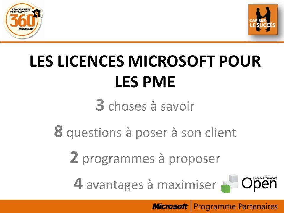LES LICENCES MICROSOFT POUR LES PME 3 choses à savoir 8 questions à poser à son client 2 programmes à proposer 4 avantages à maximiser