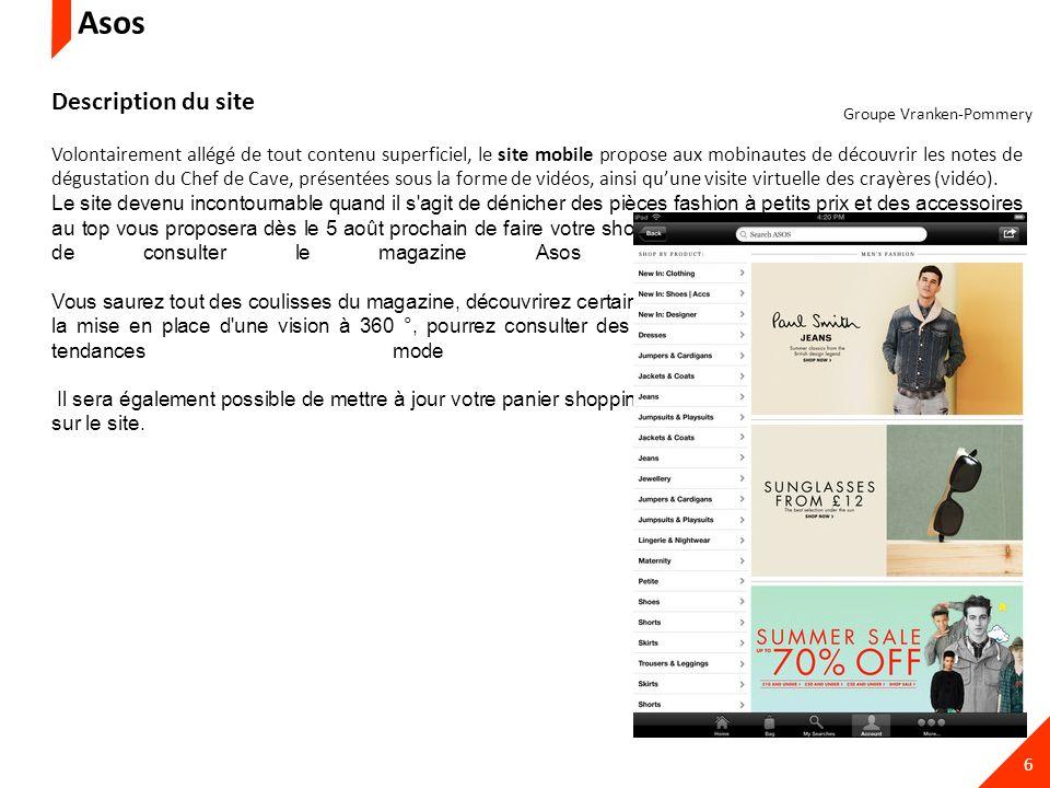 6 Description du site Volontairement allégé de tout contenu superficiel, le site mobile propose aux mobinautes de découvrir les notes de dégustation d