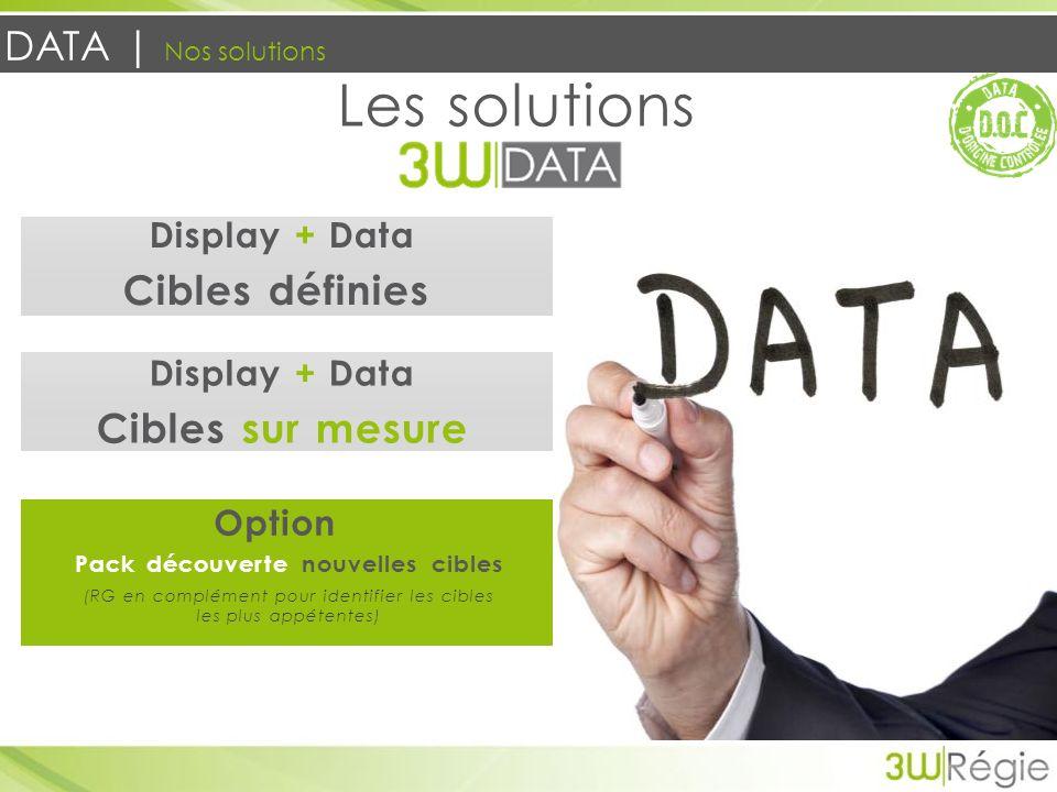 DATA | Nos solutions Les solutions Display + Data Cibles définies Display + Data Cibles sur mesure Option Pack découverte nouvelles cibles (RG en comp