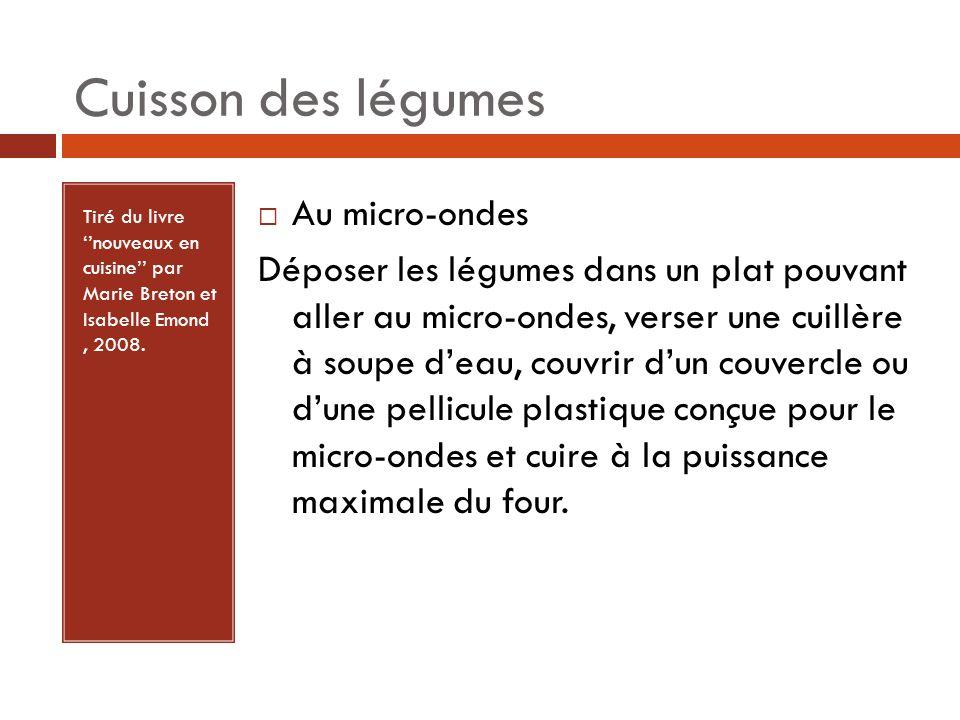 Tiré du livre nouveaux en cuisine par Marie Breton et Isabelle Emond, 2008. Au micro-ondes Déposer les légumes dans un plat pouvant aller au micro-ond