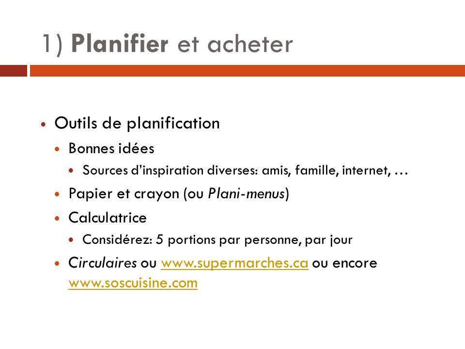 1) Planifier et acheter Outils de planification Bonnes idées Sources dinspiration diverses: amis, famille, internet, … Papier et crayon (ou Plani-menu