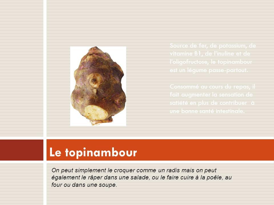 Source de fer, de potassium, de vitamine B1, de linuline et de loligofructose, le topinambour est un légume passe-partout.