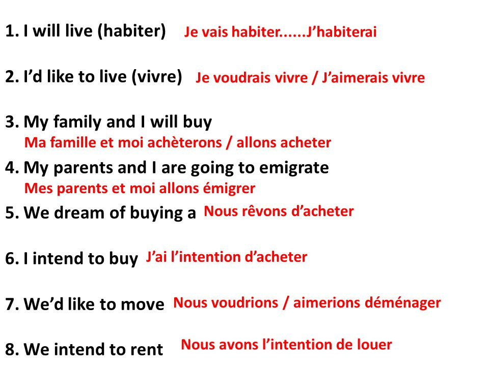 1.I will live (habiter) 2.Id like to live (vivre) 3.My family and I will buy 4.My parents and I are going to emigrate 5.We dream of buying a 6.I intend to buy 7.Wed like to move 8.We intend to rent Je vais habiter......Jhabiterai Je voudrais vivre / Jaimerais vivre Ma famille et moi achèterons / allons acheter Mes parents et moi allons émigrer Nous rêvons dacheter Jai lintention dacheter Nous voudrions / aimerions déménager Nous avons lintention de louer